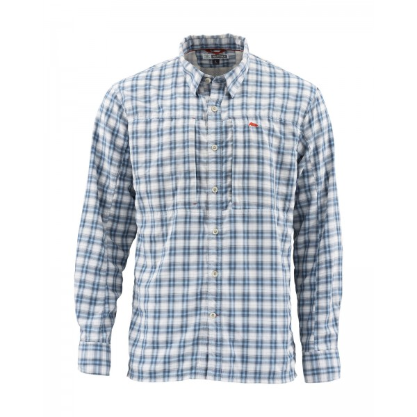 BugStopper Shirt Plaid Faded Denim Plaid